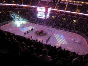 НХЛ. Winnipeg Jets - Pittsburg Penguins. Предматчевое построение и физкульт-привет.